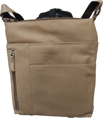 Leather Mall Men, Women Beige Genuine Leather Sling Bag