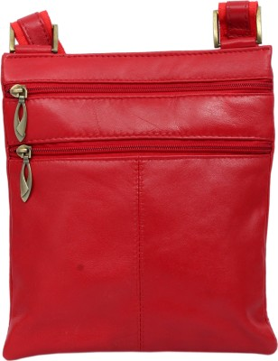 RAMBLER Girls, Women Casual Red Genuine Leather Sling Bag