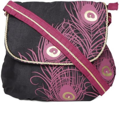 Anouk Women Black, Pink Canvas Sling Bag