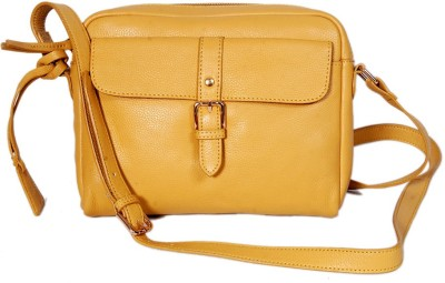 Taws Women Formal Yellow Genuine Leather Sling Bag