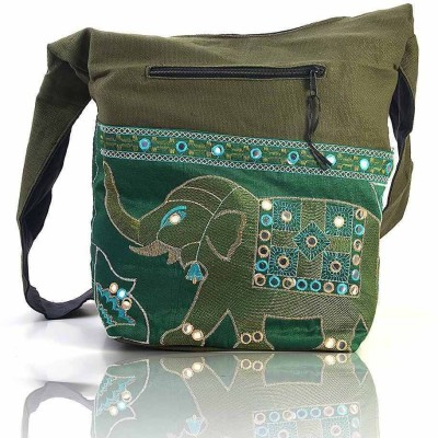 Great Art Women Green Polyester Sling Bag