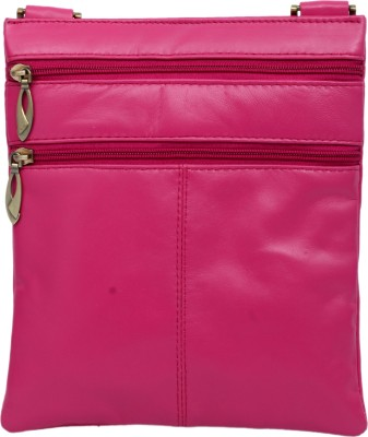 RAMBLER Girls, Women Casual Pink Genuine Leather Sling Bag