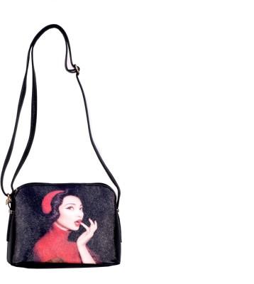 Prezia Girls Black, Red PU Sling Bag