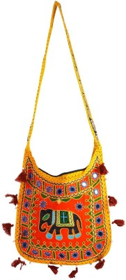 Rajkruti Women Yellow, Multicolor Cotton Sling Bag