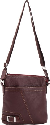 Naz Women Casual Brown Genuine Leather Sling Bag