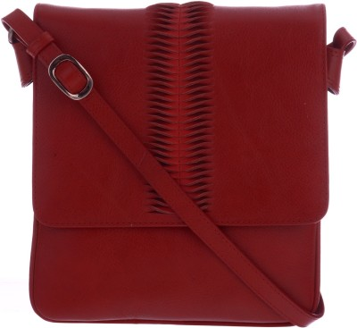 Traversys Girls Casual Red Genuine Leather Sling Bag