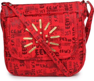Star Style Women Casual Red Canvas Sling Bag