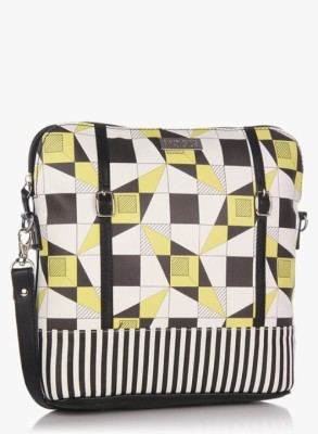 3 Mad Chicks Girls Black, White, Yellow PU Sling Bag