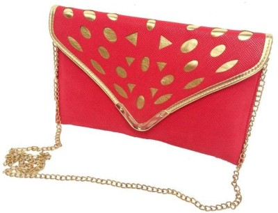 Craftbazaar Women Evening/Party Red Leatherette Sling Bag