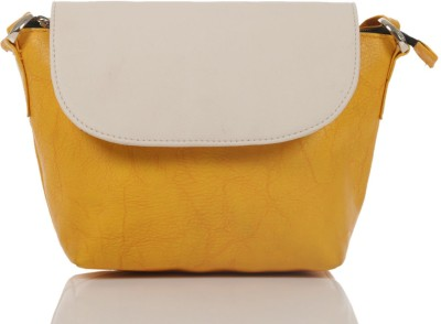 Ebry Girls Yellow Genuine Leather Sling Bag