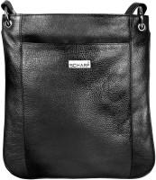 Scharf Men Black Genuine Leather Messenger Bag