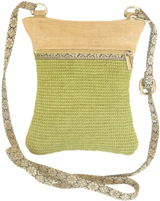 Beautona Girls Green Jute, Cotton Sling Bag