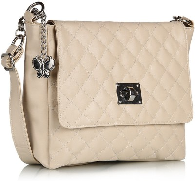 Butterflies Women Casual Beige PU Sling Bag