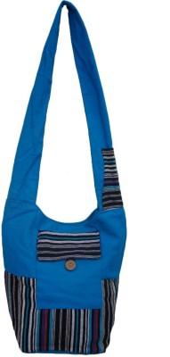 The Living Craft Women Blue Canvas Sling Bag