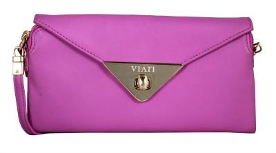 Viari Women Pink Genuine Leather Sling Bag