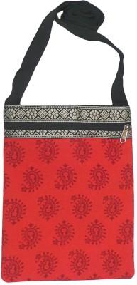 Bhamini Women Red Cotton Sling Bag
