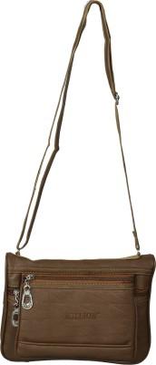 Diamonds World Women Brown Genuine Leather Sling Bag