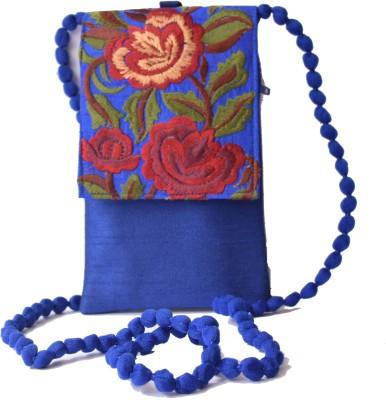 Mahadev Exports Women Blue Silk Sling Bag