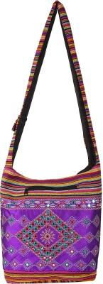 Fashiondrobe Women Casual Purple Cotton, Silk Sling Bag