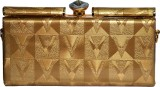 ANAHI Women Gold Leatherette Sling Bag