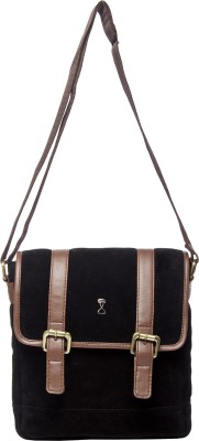 Srota Men Casual Black PU Sling Bag