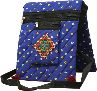 SAANKHYA Girls, Women Blue Cotton Sling Bag