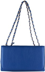 Fiza Women Blue Leatherette Shoulder Bag