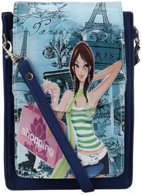 Coash Women Blue PU Messenger Bag