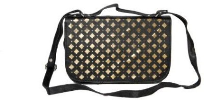 Kuero Women Black, Gold Leatherette Sling Bag