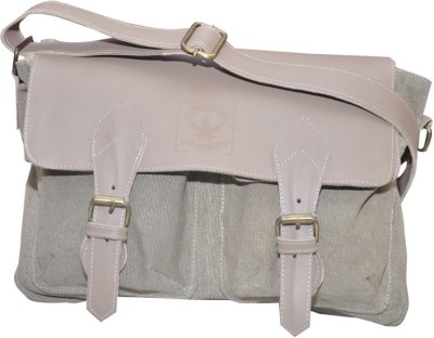 B-World Men Grey Genuine Leather Sling Bag
