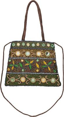 VERMELLO Girls, Women Casual, Evening/Party Brown Silk Sling Bag
