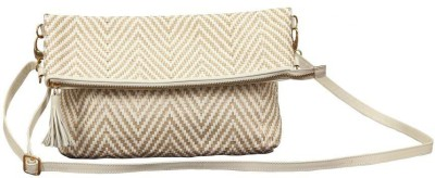 SVI Women Casual White Genuine Leather Sling Bag