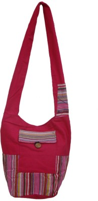 The Living Craft Women Pink Canvas Sling Bag