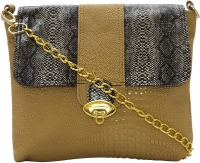 Stylocus Women Casual Beige Genuine Leather Sling Bag