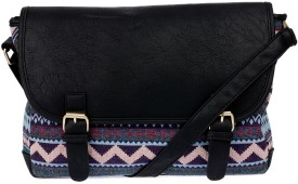 iva Women Black Leatherette Messenger Bag