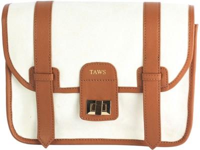 Taws Women Formal White Canvas Sling Bag