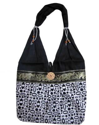 CraftCor Girls, Women Black Cotton Shoulder Bag