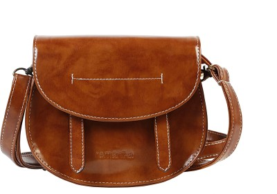 Remanika Women Beige PU Sling Bag