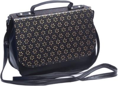 Voaka Girls, Women Black, Gold Leatherette Sling Bag