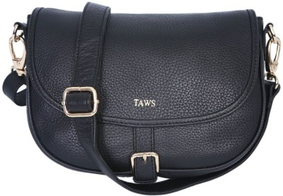 Taws Women Formal Black Genuine Leather Sling Bag