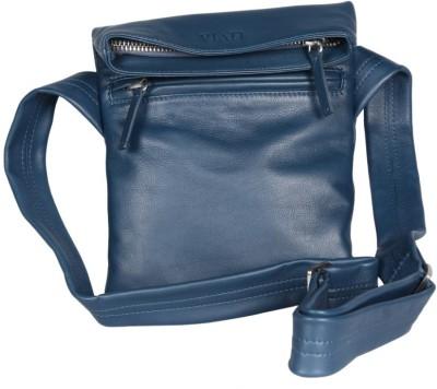 Viari Men Casual Blue Genuine Leather Shoulder Bag