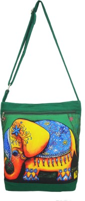 Shilpkart Women, Girls Green Canvas, Cotton Sling Bag
