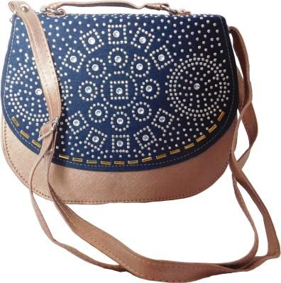 JTM Trading Girls, Women Brown, Blue PU Sling Bag