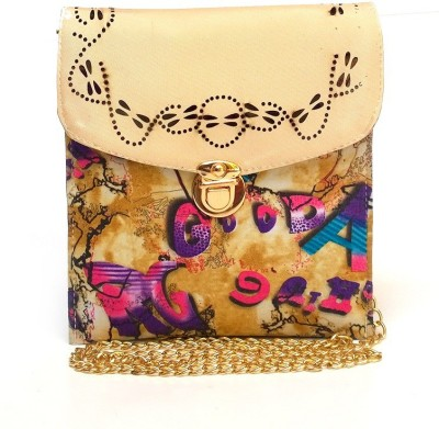 Fashion Knockout Girls, Women Beige Leatherette Sling Bag