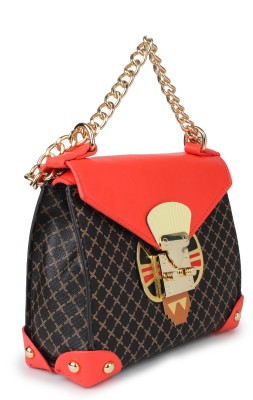 Amatra Girls, Women Brown, Red, Gold Leatherette Sling Bag
