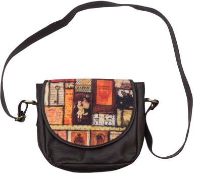 Bandbox Women Casual Brown PU, Canvas Sling Bag