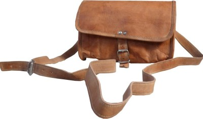 B-Unit Products Girls, Women Brown Genuine Leather Sling Bag