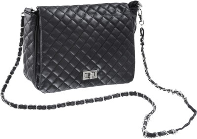 Lee Italian Girls Casual, Evening/Party, Festive Black PU Sling Bag