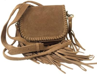 Romari Girls Casual Tan, Black Genuine Leather Sling Bag