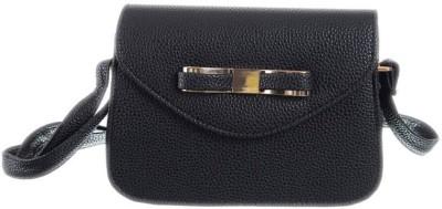 Peaubella Girls Black PU Sling Bag